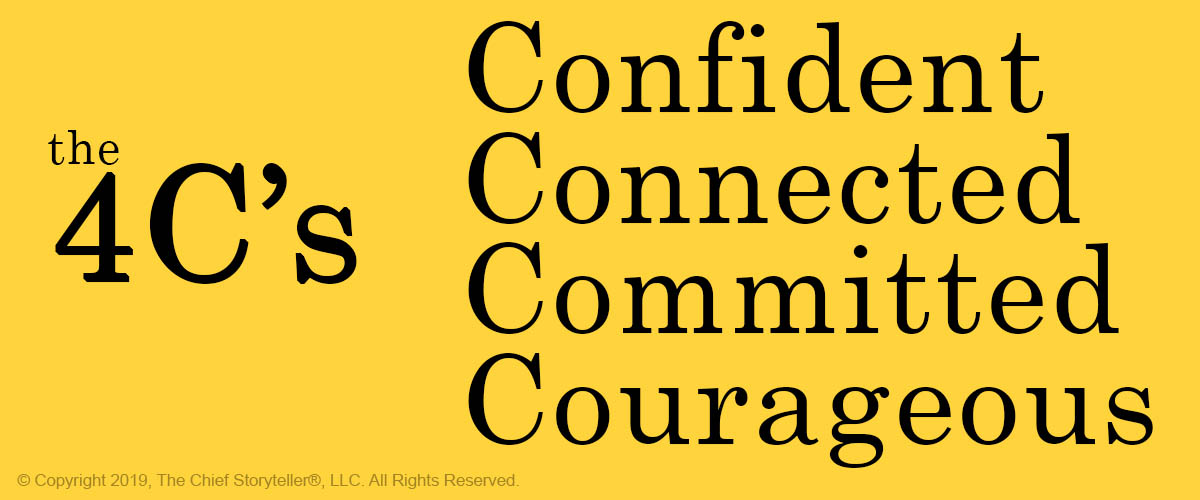 black text on yellow - alliteration with 4C's Confident, Connected, Committed, Courageous