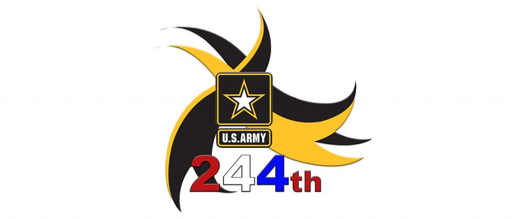 happy 244th birthday US Army - logo with red, white, and blue text of 244th