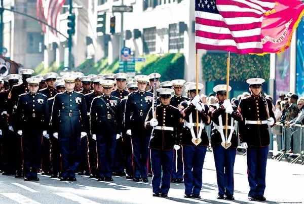 happy veterans day 2019, parade with US Marines Marching, New York City