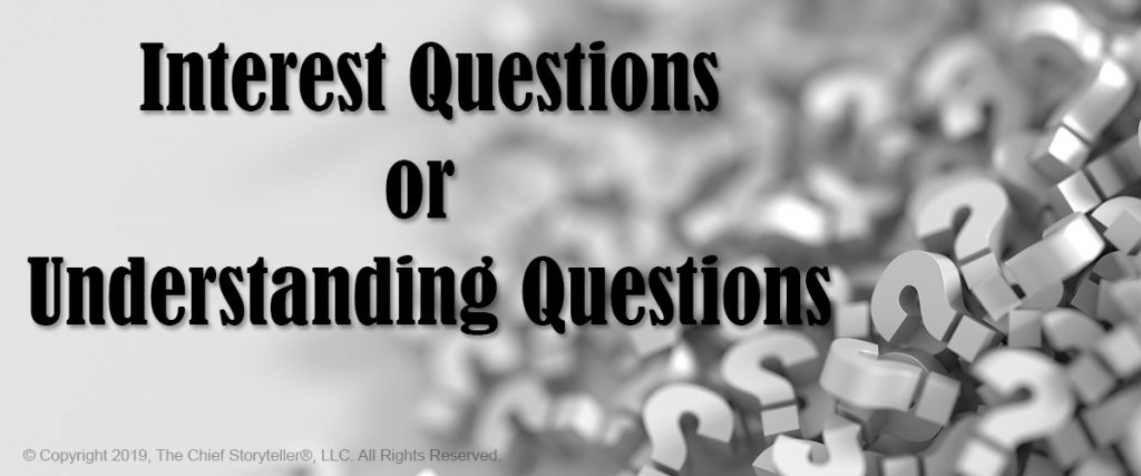 black and white image of hundreds of small question marks, overlay text Interest Questions or Understanding Questions