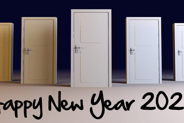 milton berle quote on opening your own doors, showing five doors for new year in 2020