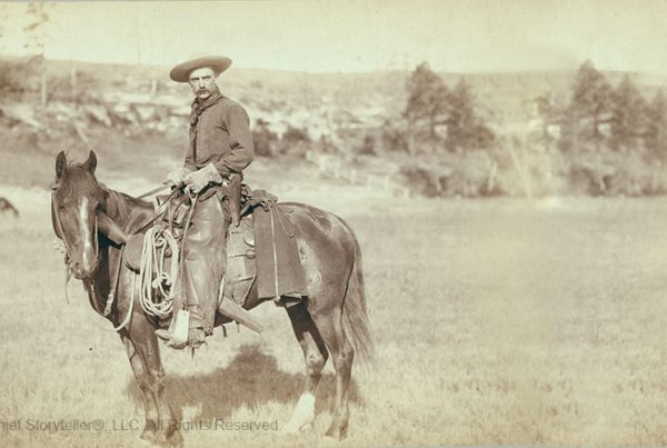 1888 photo of cowboy in the west, story of Goldrush Jack, and secret to asking questions