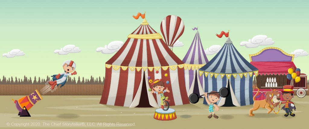cartoon of circus with tents, rides, and various child performers, canon, strongman, juggler, lion tamer