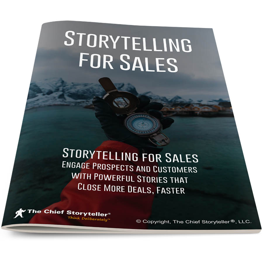 cover of workbook for storytelling for sales training, beautiful water and mountain scene with gloved hand holding compass