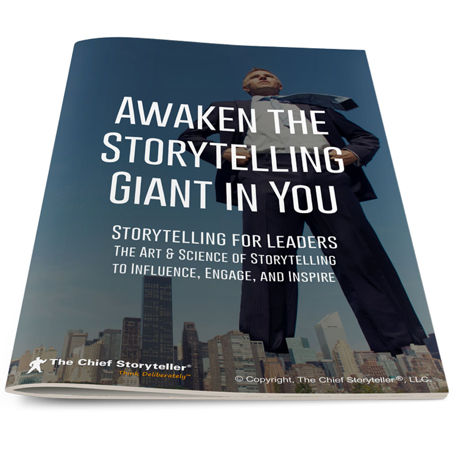 cover of workbook for storytelling for leaders program, super tall giant of a man standing in a city, for Awaken the Storytelling Giant in You