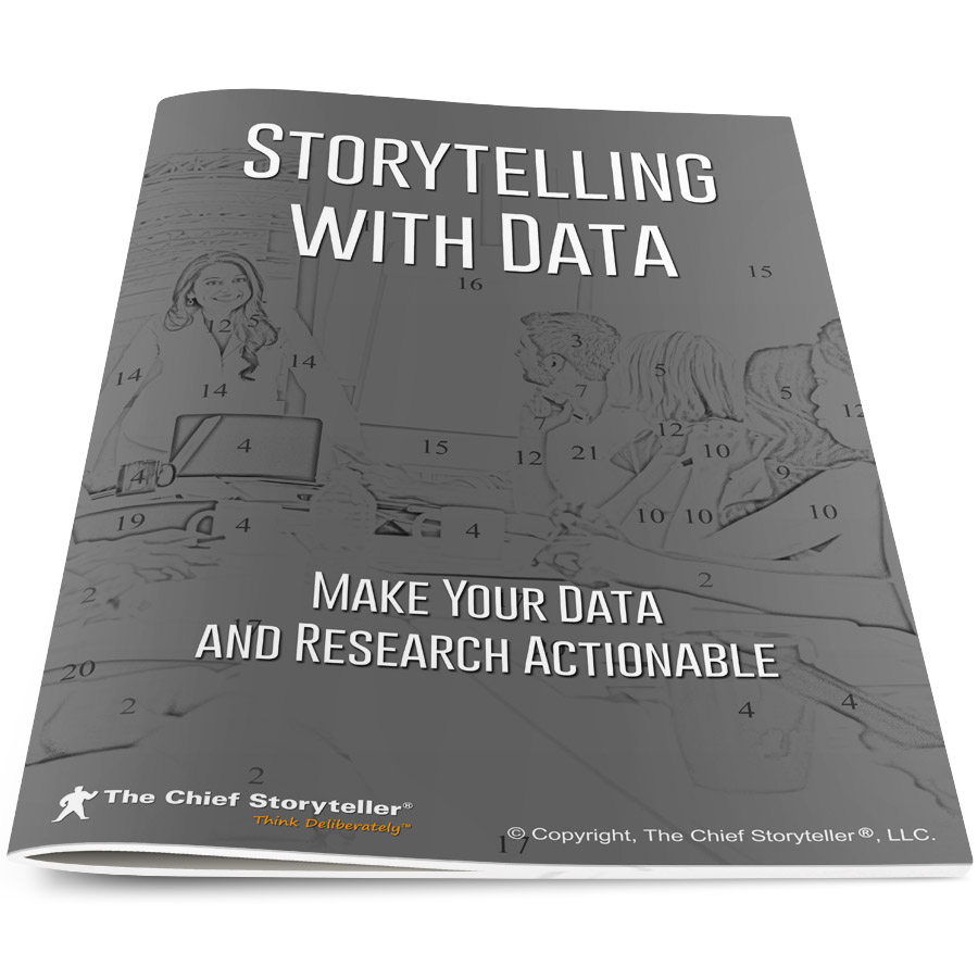 cover of workbook for storytelling with data program, executive presenting at table, black and white, with numbers to copy the style of paint by numbers