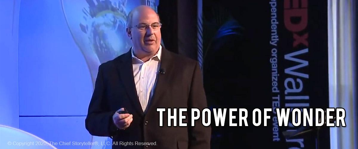 screen capture of jeff hoffman delivering his Power of Wonder TEDx talk in Wall Street