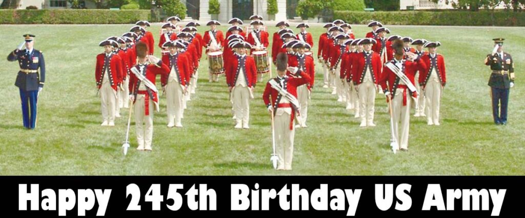happy 245th birthday US Army - drum and fife corps
