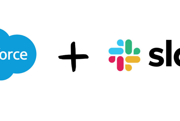 sales force logo on the left, plus sign in the middle, slack logo on the right