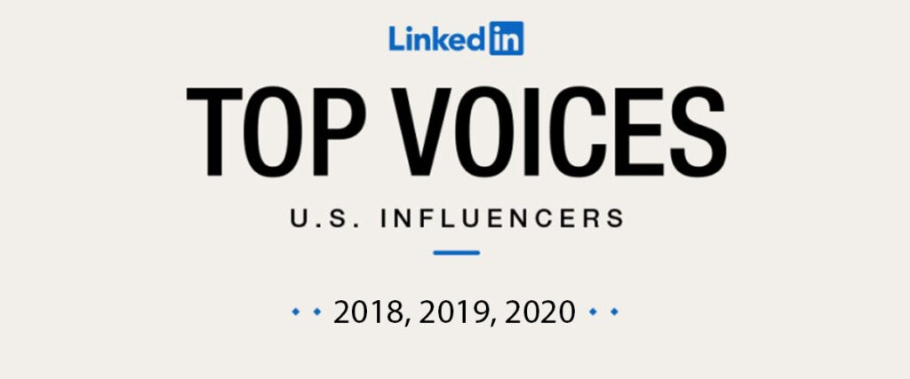 LinkedIn Top Voices Influencers for 2018, 2019, 2020 top 20 table