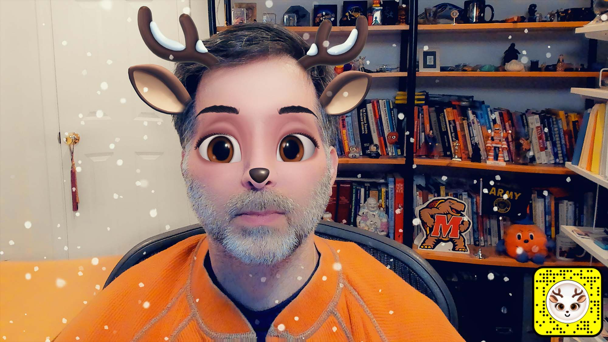 Snap Camera filter lens for a deer face with antlers