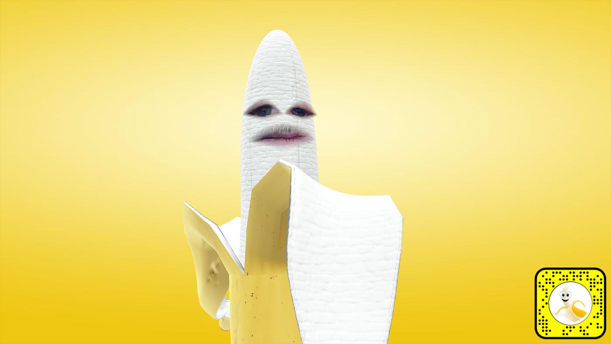 Snap Camera filter lens for a peeled banana