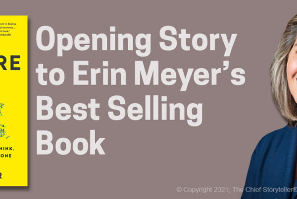 Culture Map image of book cover, text of opening story, and headshot for author Erin Meyer